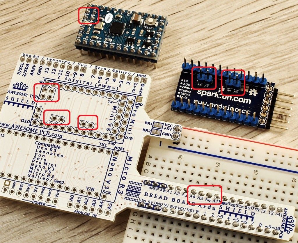 Access for analog pins A4 A5 A6 and A7 of Arduino Mini and  Arduino Pro Mini